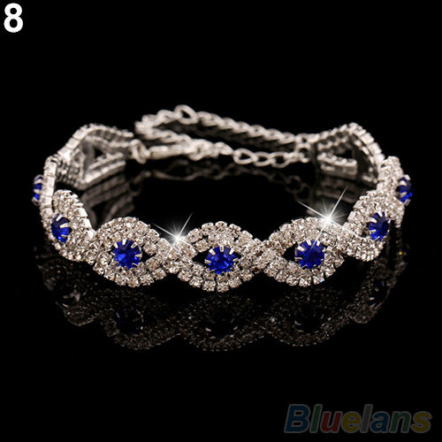 Womens Girl Stunning Wedding Party Rhinestone Wrap Cuff Bangle Chain Bracelet