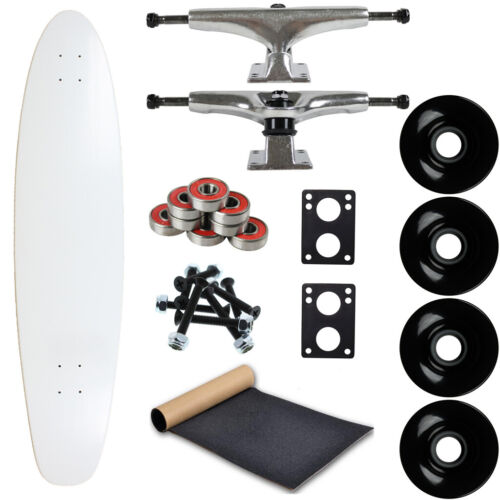 """Easy and Fun to Build! Moose Longboard Complete 9/"""" x 40/"""" Kicktail Dipped White"""