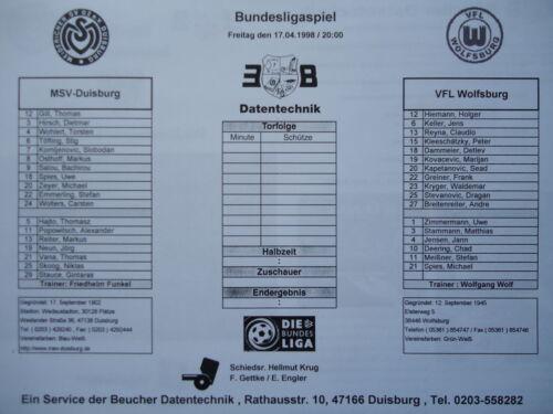 VfL Wolfsburg Medien Info 1997//98 MSV Duisburg