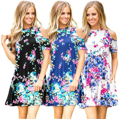 Ruffled Cold Shoulder Floral Print Casual Cocktail Evening Party Swing Dress