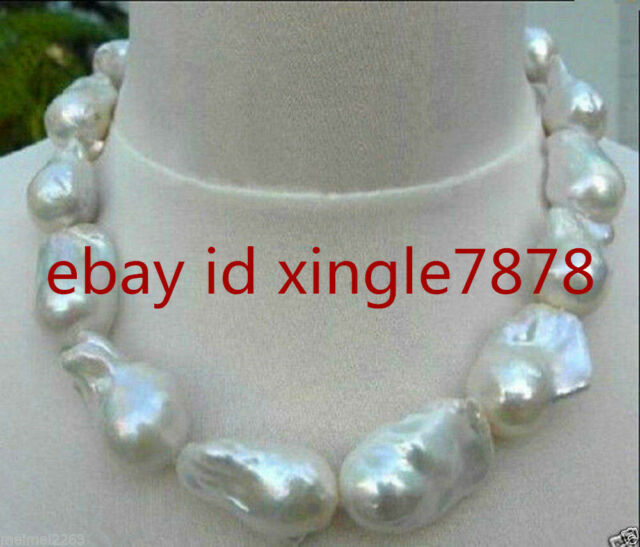 REAL HUGE AAA SOUTH SEA WHITE BAROQUE PEARL NECKLACE 18'' AA+