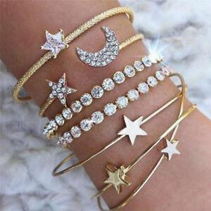 4PCS-Set-Cuff-Open-Crystal-Star-Bangle-Heart-Bracelet-Women-Wristband-Jewelry-PQ