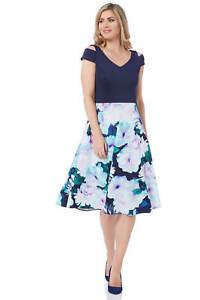 Roman-Originals-Women-039-s-Floral-Print-Fit-and-Flare-Scuba-Dress-Sizes-10-20