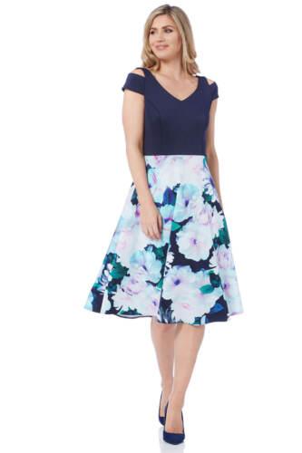 Roman Originals Women/'s Floral Print Fit and Flare Scuba Dress Sizes 10-20