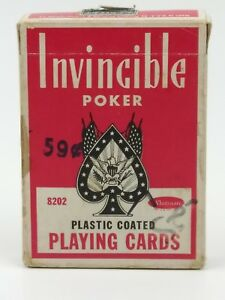 Vintage-Invincible-Poker-Playing-Cards-Deck-8202-Tax-Stamp-Linen-Finish-Whitman