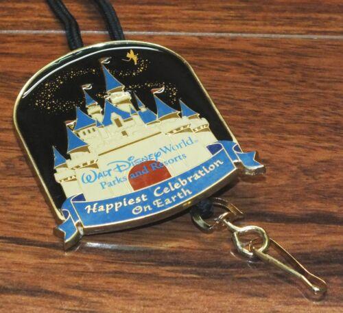 "Walt Disney Parks Resorts Happiest Celebration On Earth 3/"" Pin Lanyard Necklace"