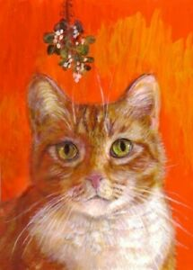 NEW-BCB-Orange-Tabby-Cat-Under-Mistletoe-Print-of-Painting-ACEO-2-5-x-3-5-Inches