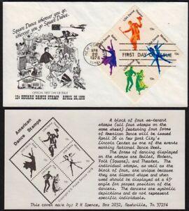 1978-Dance-Sc-1752a-block-of-4-R-H-Spence-1st-cachet-Ballet-Folk-Modern