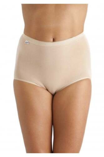 6 PAIRS LADIES PLAIN STRETCH COTTON FULL BRIEFS  KNICKERS SIZES 12 TO 22