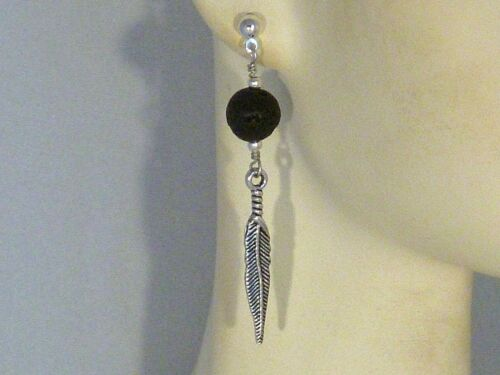Mens//Womens Lava Rock Feather Gemstone Earrings Tribal//Native Silver Plated