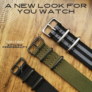 NATO Watch Strap Military Style Divers Bands 18mm 20mm 22mm 24mm Black Green 007