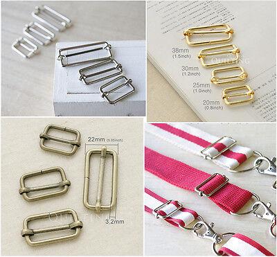 """Metal Sliding Bar Adjuster Buckles Strap Belt Adjuster 3/4"""" 1"""" 1 1/4"""" 1.5"""" 4pcs"""