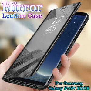 Huelle-Samsung-Galaxy-S7-S7-EDGE-Schutz-Clear-View-Cover-Flip-Case-Handy-Tasche