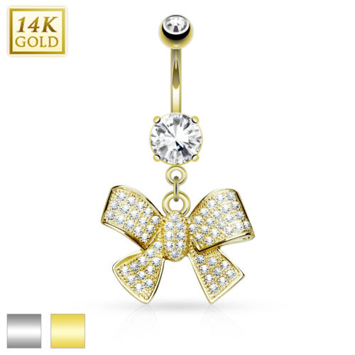 14K Solid GOLD Jeweled Ribbon /Bow BELLY Button RINGS Navel Bar Piercing Jewelry