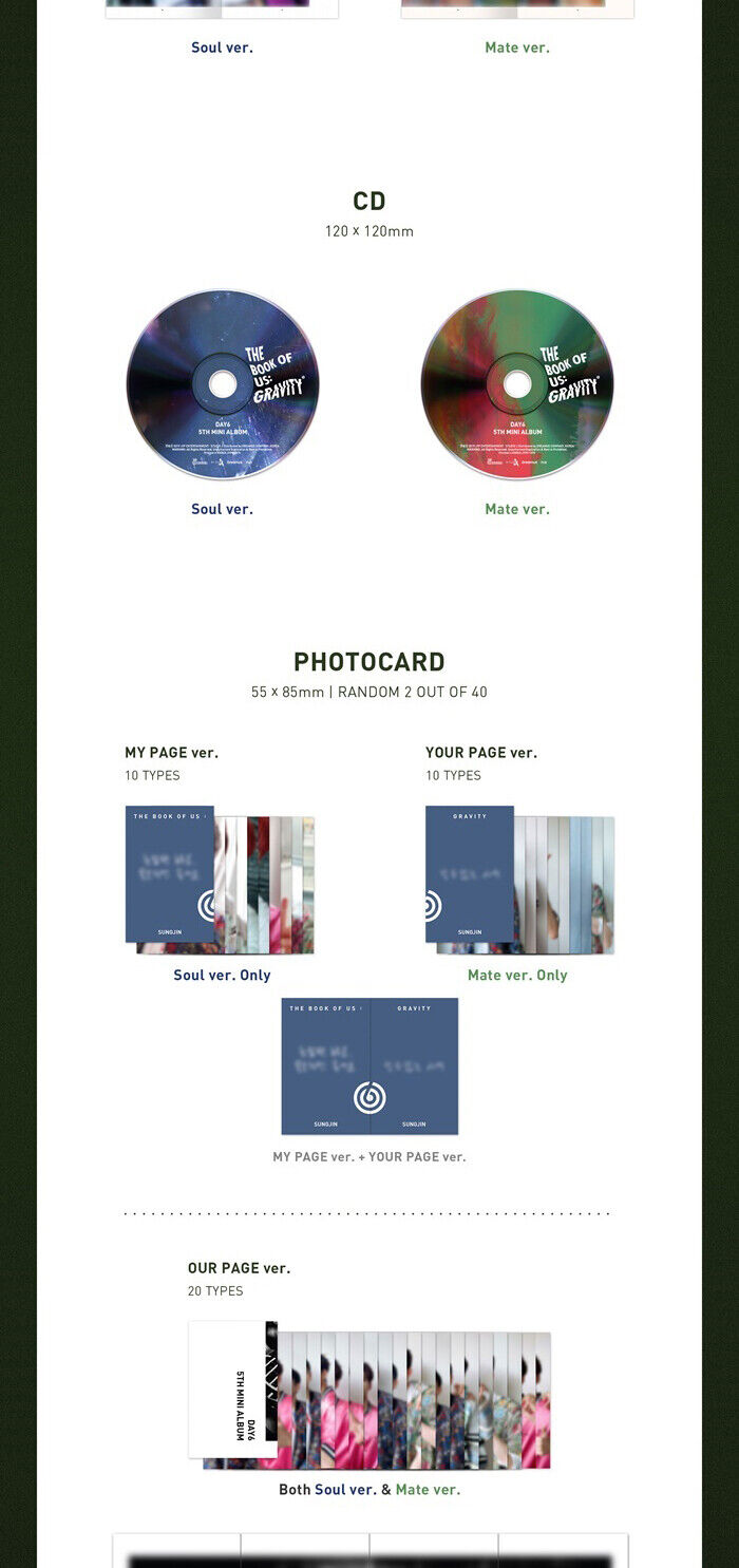 DAY6 THE BOOK OF US:GRAVITY Mini Album CD+POSTER+P Book+3p