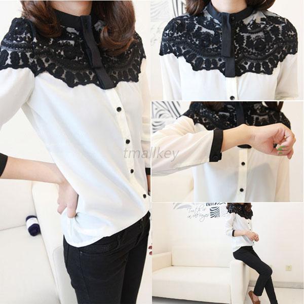 Lace Floral Women Chiffon Shirt Tops Button Down Long Sleeve Loose Ladies Blouse