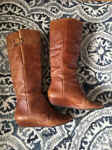 01ed459a8ca Steven By Steve Madden  INTYCE  Tall Brown Leather Knee High Wedge ...