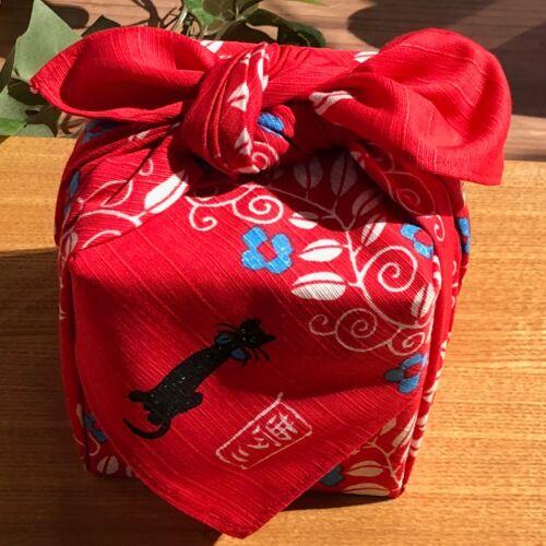 F//S Japanese Furoshiki Cat Yumeji Takehisa Wrapping Cloth Cotton 100/% in Red