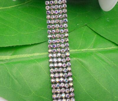 ss12 clear AB glass crystal 3mm rhinestone compact close black chain trims 1yard