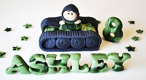 HANDMADE EDIBLE BOY ARMY TANK BIRTHDAY CAKE TOPPER DECORATION NAME