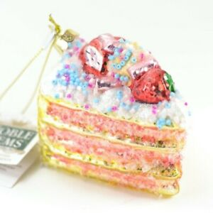 Slice-of-Cake-Glass-Christmas-Ornament-3-Inch-Wide-NEW