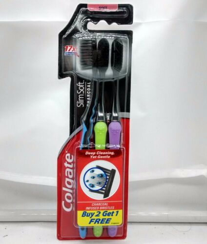 Colgate Slim Soft Charcoal Toothbrush Pack of 3 Toothbrushes Assorted Colours