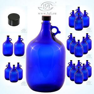 glasballon flasche blau wein aufbewahrung wasser henkelflasche gallone 5 liter ebay. Black Bedroom Furniture Sets. Home Design Ideas