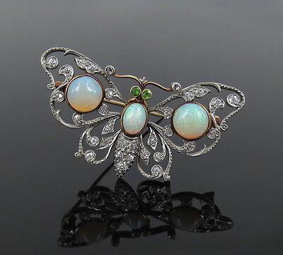 Antique Charleston & Co Diamond Opal & Demantoid Garnet Butterfly Brooch