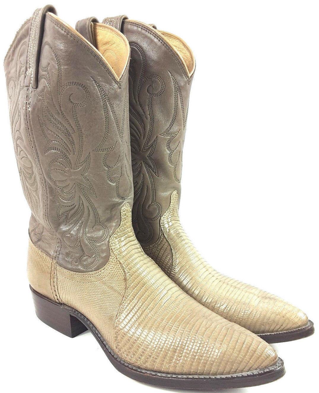 Women's DAN POST Sz 7.5M Cream color Exotic Lizard skin Cowgirl Boots 4262