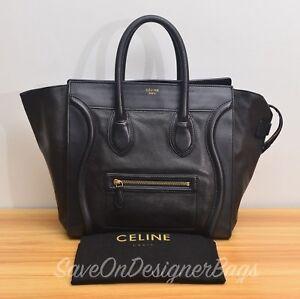 Celine-Mini-Luggage-Handbag-in-Black-Used-Authentic-w-Dustbag