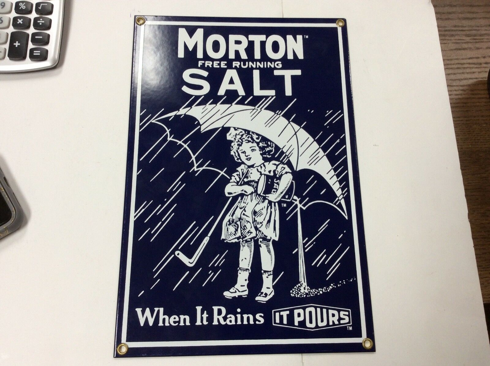 "Morton Free Running Salt 12"" Sign"