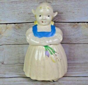 Vintage Ludowici Celadon Pottery Holland Dutch Girl Cookie Jar 1930s-1940s