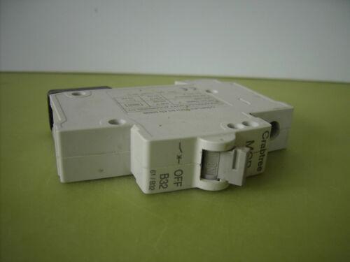 Black Clip, Grey Lever, Plug in Circuit Breaker Fuse Crabtree Starbreaker MCB