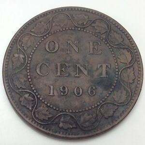 1906-Canada-One-1-Cents-Large-Penny-Circulated-Canadian-Coin-D510
