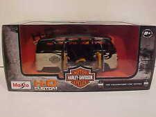 Harley Davidson VW Bus Samba Van Diecast 1:25 Maisto 8 inch Cream and Black 1/24