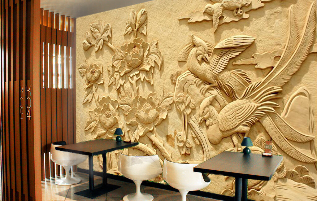 3D Carved flowers bird Wall Paper Wall Print Decal Wall Deco Indoor Wall Murals