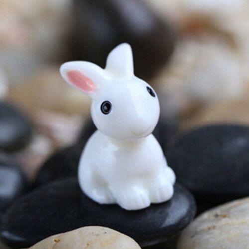 4Pc Miniature lapins blancs Fée Jardin Animal Ornaments terrarium Fournitures