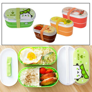 e1b99772e5c0 Details about Kid Portable Food Container Bento Plastic Lunch Box Set Large  Food Storage Snack