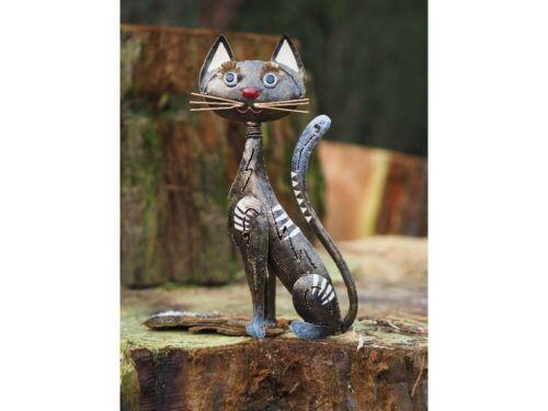Metallskulptur Gartenfigur Katze Gartendeko Skulptur Figur Statue handarbeit 043
