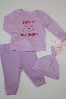 NEW Baby Girls 3 Pc Layette Set 0-3 Months Shirt Pants Hat Outfit Purple Cat