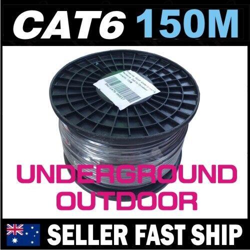 150m Black Cat6 Underground Outdoor Gigabit Ethernet Network LAN Cable Roll