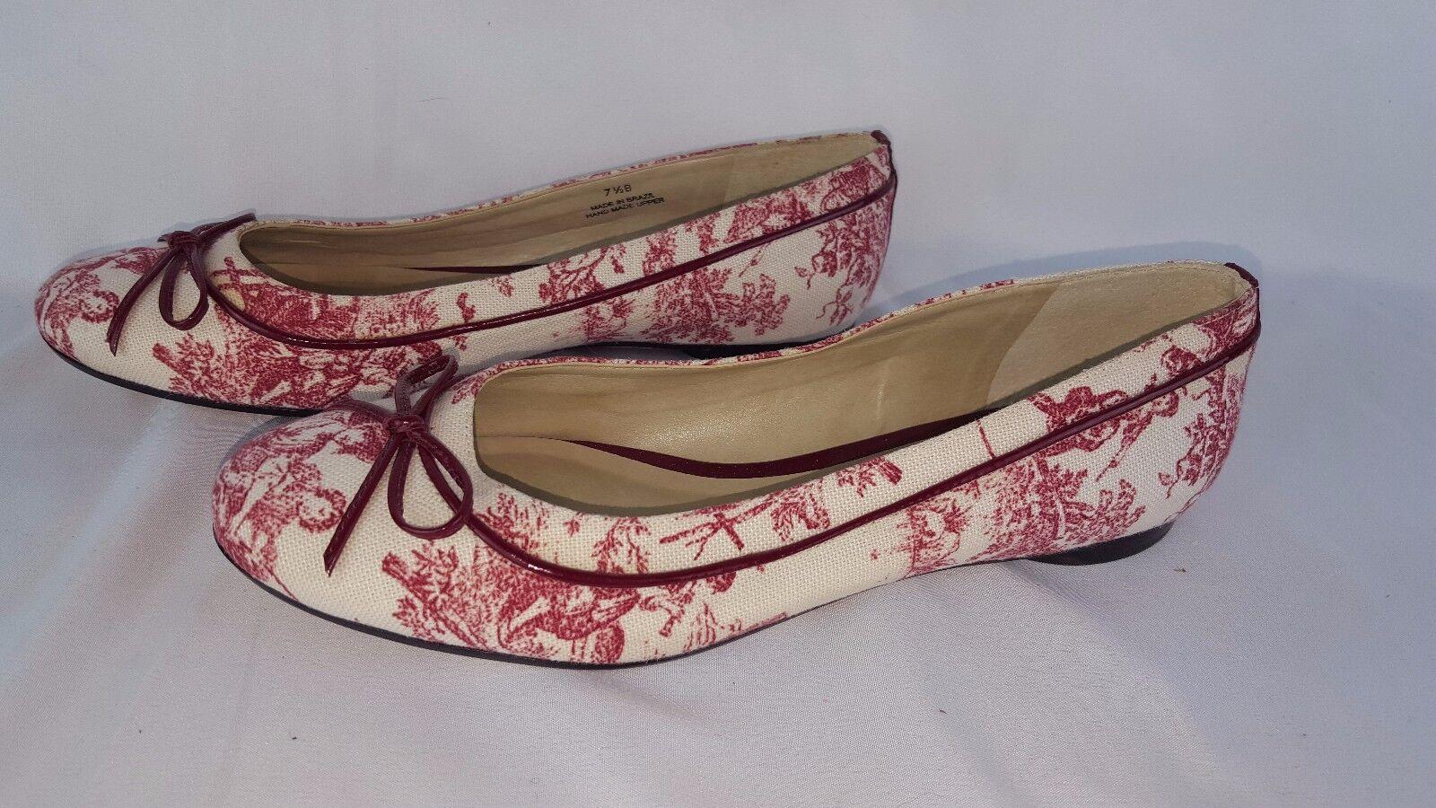 Talbots Flats Slip-on shoes Maroon & White Women Girl Pattern Sz 7.5