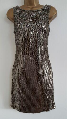 NEW Miss Selfidge Size 12 Gatsby Bronze Sequin Embellished Shift Dress Wedding