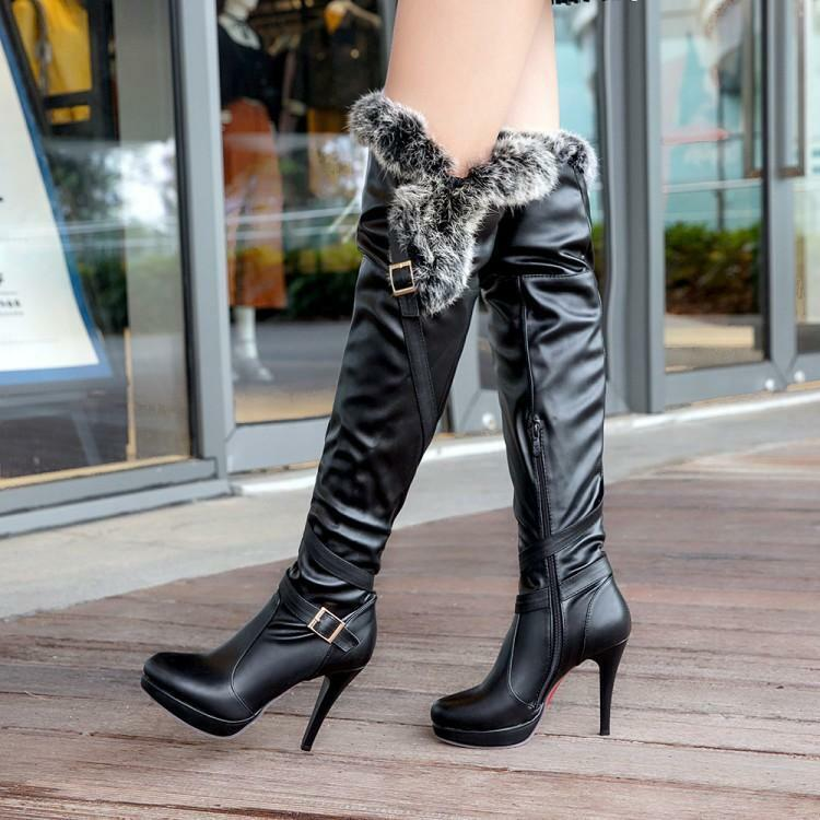 Womens Side Zip Stiletto Heels Over The Knee Boot Buckle Platform Knight shoes