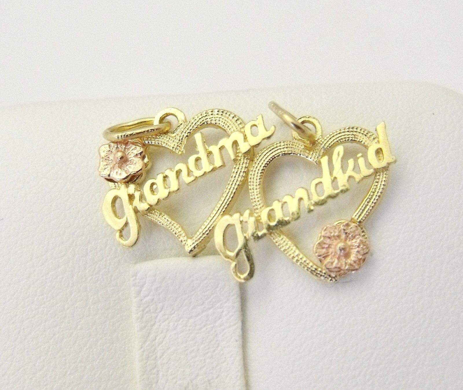 New 14K Yellow & pink gold Double Heart Grandma Grandkid Charm Pendant 1.4gr