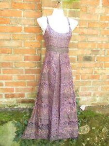 Kleid Seide Seidenkleid Sommerkleid Hippie Ethno Nepal Goa Sari M Lang Maxi Lila Ebay