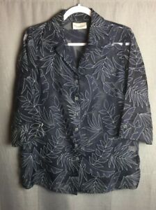 Tan-Jay-Button-Up-Blouse-Dark-Blue-on-Black-Sheer-Floral-Applique-Size-S-Guess