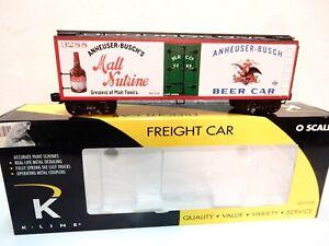 K-line-O-Scale-Anheuser-Busch-Malt-Nutrine-Beer-Woodside-Billboard-Reefer-New-amp-b