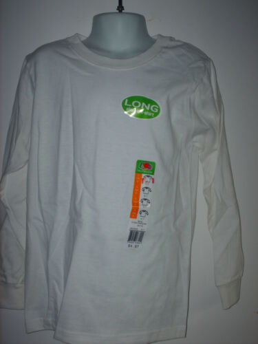 youth kids LONG SLEEVE t-shirt FOL Fruit of the Loom white closeout