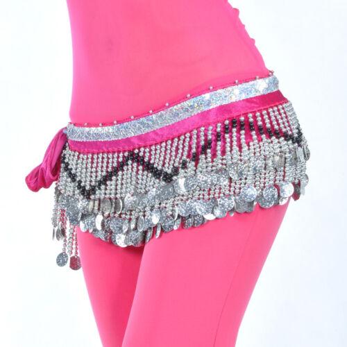 New Belly Dance Hip Scarf Belt velvet/& 258pcs Silver Coins 10 Colors